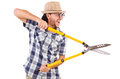 Funny guy with garden shears on white Stock Photos