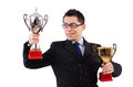 Funny guy receiving award on white Royalty Free Stock Photos