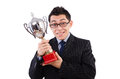 Funny guy receiving award on white Stock Photo