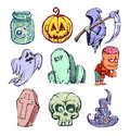 Funny halloween characters set of hand drawn illustration Stock Image