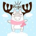 Funny hand draw deer. Hugs and love.
