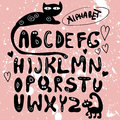 Funny hand drawn alphabet design Royalty Free Stock Images