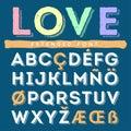 Funny hand drawn alphabet. Vector font
