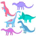Funny hand drawn dinosaurs. Set of cartoons dino