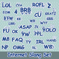 Funny hand drawn internet slang words set and doodle design elements vector format available Royalty Free Stock Photos