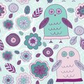 Funny hand drawn owls leaves and flowers. Purple, pink, mint.