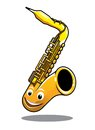 Funny happy brass saxophone cartoon musical instrument with a cute smiling face isolated on white Royalty Free Stock Images