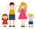 Funny happy cartoon family