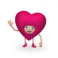 Funny happy fluffy pink Valentine heart character Royalty Free Stock Photos