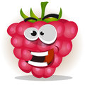 Funny happy raspberry character illustration of a cartoon fruit looking smiling and cheerful Royalty Free Stock Photos