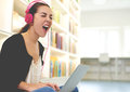 Funny happy student listening to loud music Royalty Free Stock Photo