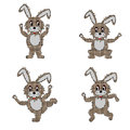 A funny hare doing morning exercises is vector art illustration on white background Stock Photography