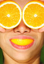 Funny health and orange Royalty Free Stock Photo