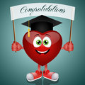 Funny heart with hat graduate