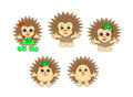 Funny hedgehogs vector characters baby boys and girls in the Royalty Free Stock Photos