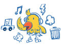 Funny hip-hop style yellow bird Royalty Free Stock Photo