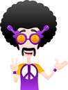 Funny hippie character vector illustration of separate layers for easy editing Royalty Free Stock Images