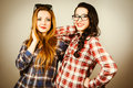 Funny hipster girls portrait with plaid shirt and retro eye glasses retro filter effect added Royalty Free Stock Photo