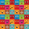 Funny hipster monster faces seamless background face expressions vector illustration pattern texture Royalty Free Stock Photo