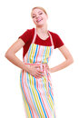 Funny housewife or barista wearing kitchen apron isolated Royalty Free Stock Photo