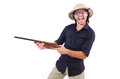 Funny hunter wearing safari hat Royalty Free Stock Photos