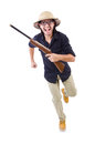 Funny hunter wearing safari hat Stock Image