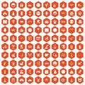 100 funny icons hexagon orange