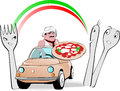 Funny illustration about typical pizza man driving in the middle of the cutlery under an italian rainbow Stock Photos
