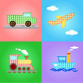 Funny images of four types of transport - vector Royalty Free Stock Photos