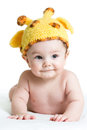 Funny infant baby boy on white Royalty Free Stock Photo
