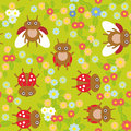 Funny insects ladybugs seamless pattern on green background with flowers and leaves. Vector Royalty Free Stock Photo
