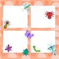 Funny insects set Spider butterfly caterpillar dragonfly mantis beetle wasp ladybugs card design on pink background. Vector Royalty Free Stock Photo