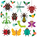 Funny insects set Spider butterfly caterpillar Royalty Free Stock Photo