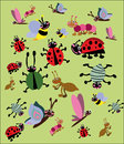 Funny insects set vector image with colorful Royalty Free Stock Photos