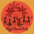 Funny invitation to night beach party with tribal band Royalty Free Stock Photos