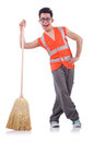Funny janitor isolated on white Stock Images