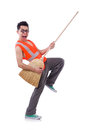 Funny janitor isolated on white Stock Photography