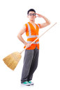 Funny janitor isolated on white Royalty Free Stock Image