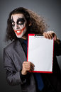 Funny joker with paper binder Stock Photo