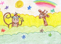 Funny jungle africa animals hand drawn african monkey and giraffe Royalty Free Stock Images
