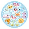 Funny Kawaii zodiac sign, astrological stiker set Royalty Free Stock Photo