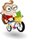 Funny kid and alien with cycle Royalty Free Stock Images