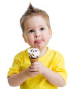 Funny kid eating ice cream isolated Stock Image