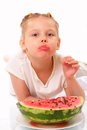 Funny kid with watermelon Stock Photos