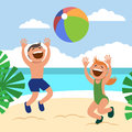 Funny kids on the beach. Happy boy and girl sunbathe and play beach volleyball on the beach. Royalty Free Stock Photo