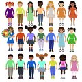 Funny kids of different races with various hairstyles and clothes vector image