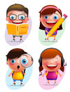 Funny kids vector characters colorful collection reading book and writing Royalty Free Stock Photo