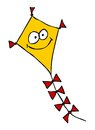 Funny kite with cartoon face sketchy illustration Royalty Free Stock Photos