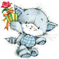 Funny kitten and flower for holiday greetings card and kids bac