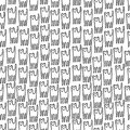 Funny kitten hand drawn seamless pattern. Black and white line Royalty Free Stock Photo